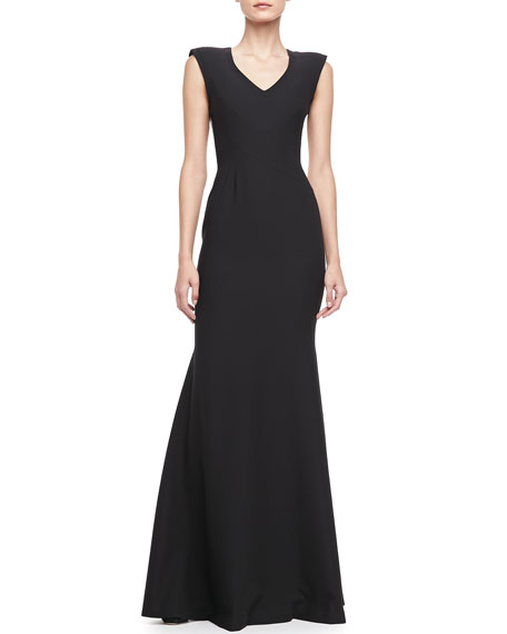 Jagger V-Neck Lace-Back Gown