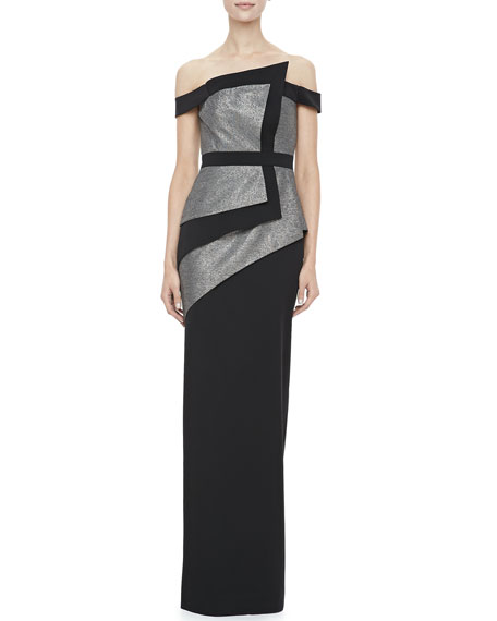La Reina Colorblock Off-The-Shoulder Gown