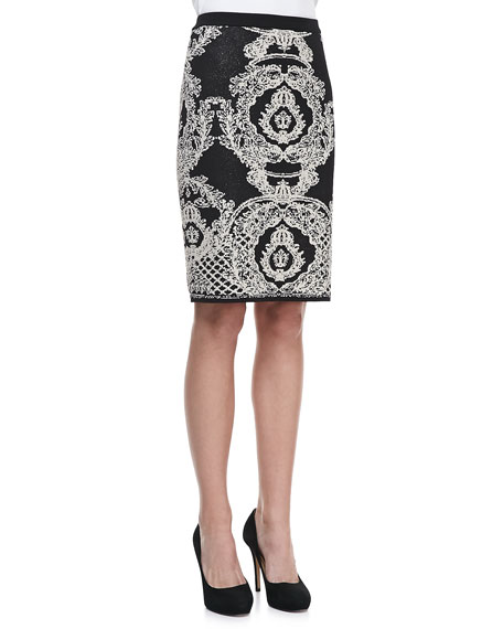 Birdseye Jacquard Skirt, Black/Almond