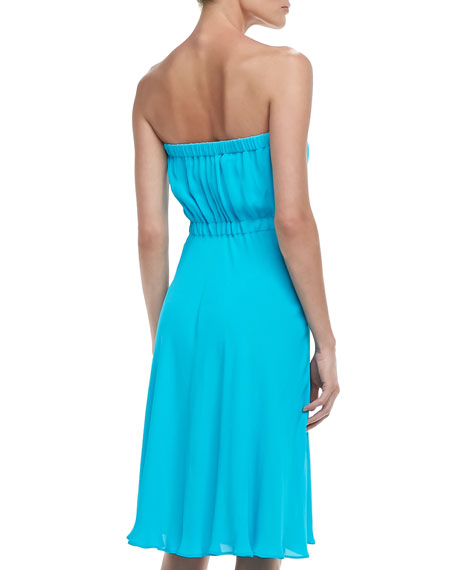 Zip-Front Strapless Dress