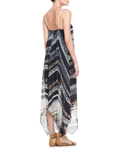 Handkerchief Printed Silk Dress