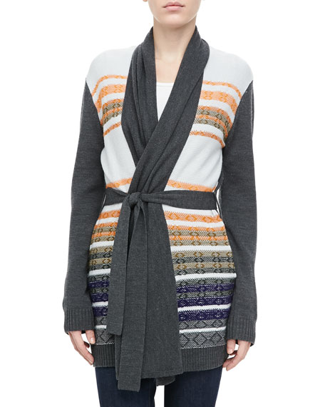 Striped Knit Tie-Waist Cardigan