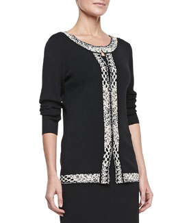 Carmen by Carmen Marc Valvo Birdseye Jacquard Border-Trim Sleeve Jacket
