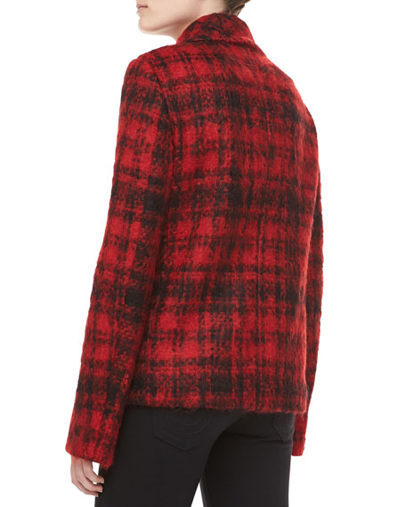 Mohair Plaid Double-Breasted Jacket