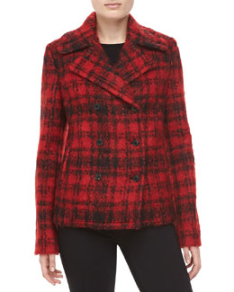 Michael Kors Mohair Plaid Double-Breasted Jacket
