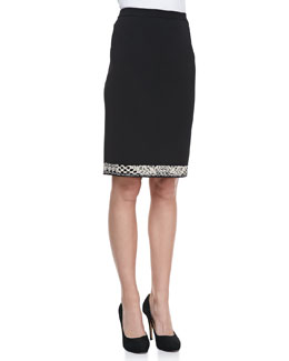 Carmen by Carmen Marc Valvo Birdseye Jacquard Border-Trim Skirt