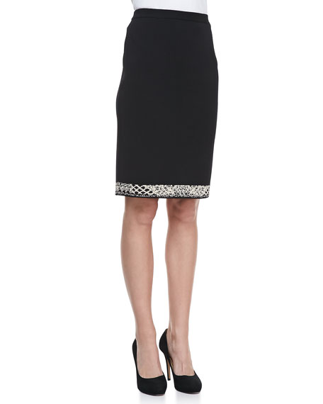 Birdseye Jacquard Border-Trim Skirt
