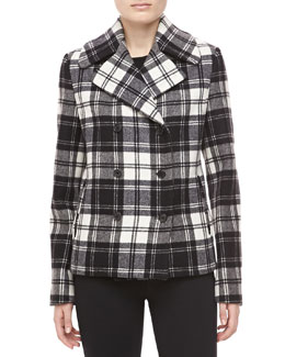Michael Kors Fairfax Plaid Melton Jacket, Black/Ivory