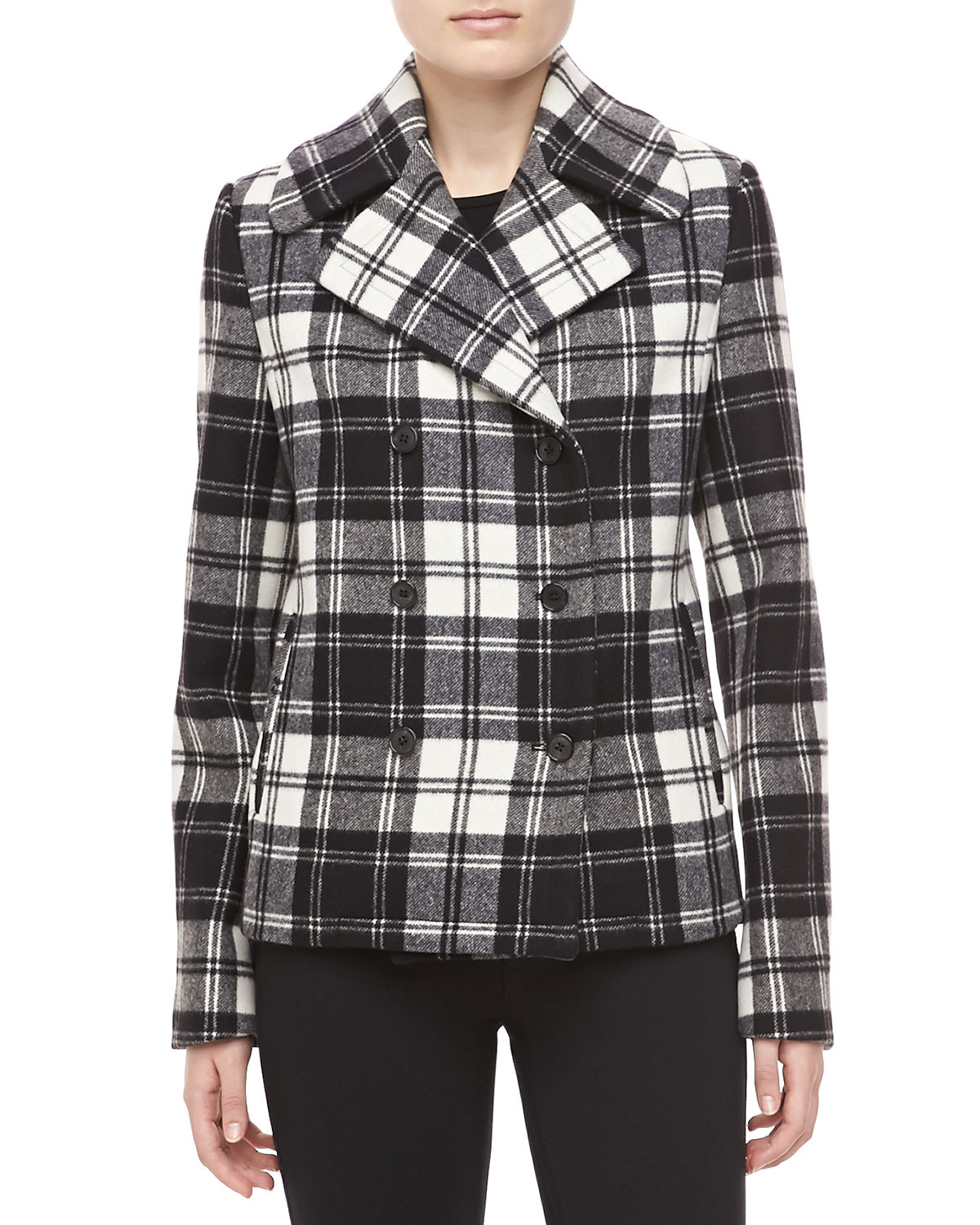 Fairfax Plaid Melton Jacket, Black/Ivory