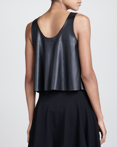 Embellished Faux-Leather Top