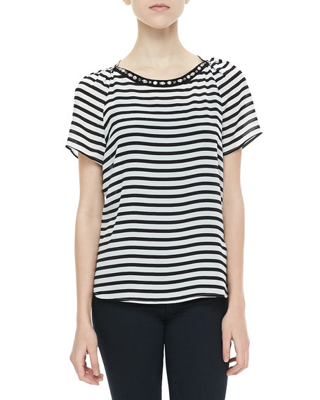 Cara Crystal-Neck Striped Top