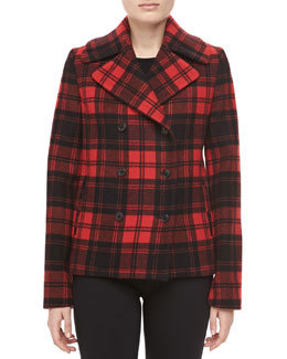 Michael Kors Fairfax Plaid Melton Jacket, Black/Crimson