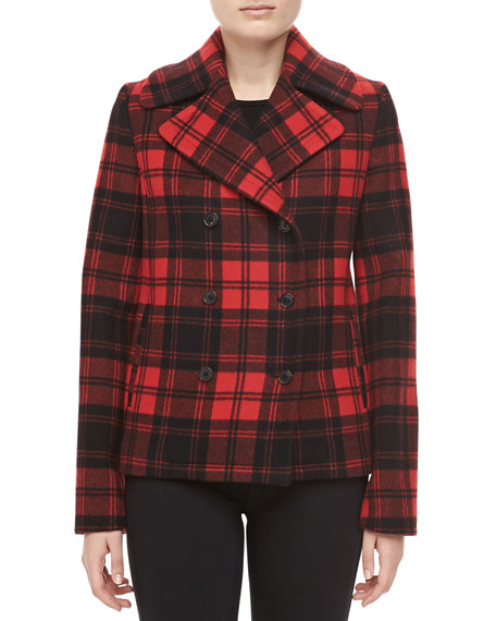 Fairfax Plaid Melton Jacket, Black/Crimson