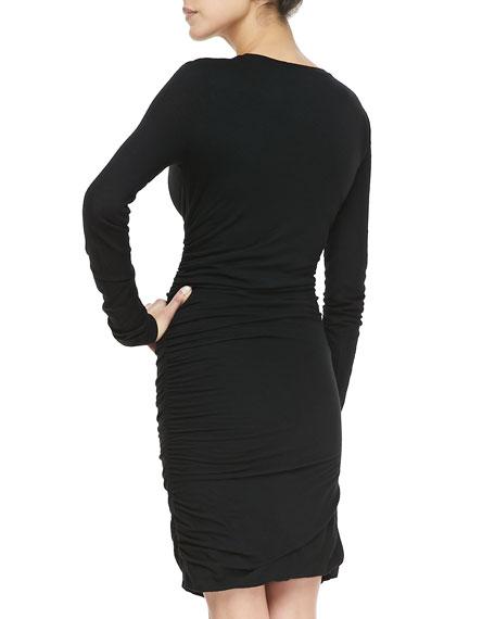 Fitted Ruched Slub Dress