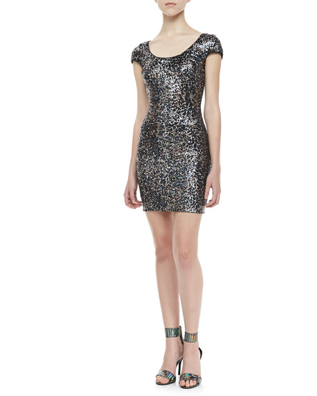 Crackled-Sequin Open-Back Dress