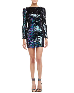 Dress the Population Sequined Scoop-Back Mini Dress