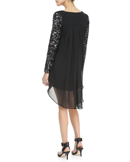 Sequined-Sleeve Chiffon Dress