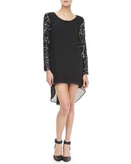 Dress the Population Sequined-Sleeve Chiffon Dress