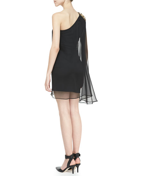 Chiffon Lined Spiked One-Shoulder Dress