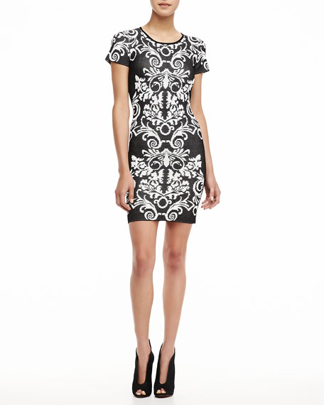Short-Sleeve Patterned Knit Dress