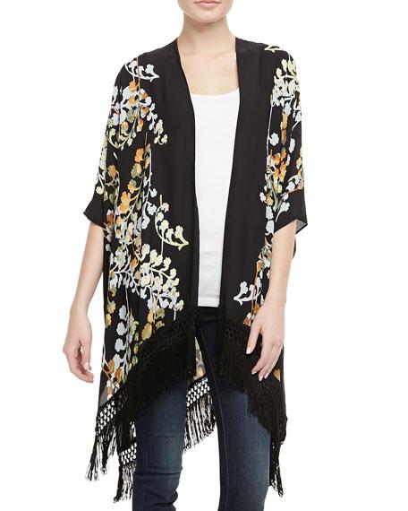 Floral Fringe Kimono Top