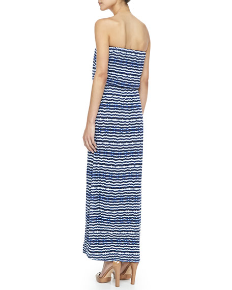 Strapless Striped Maxi Dress