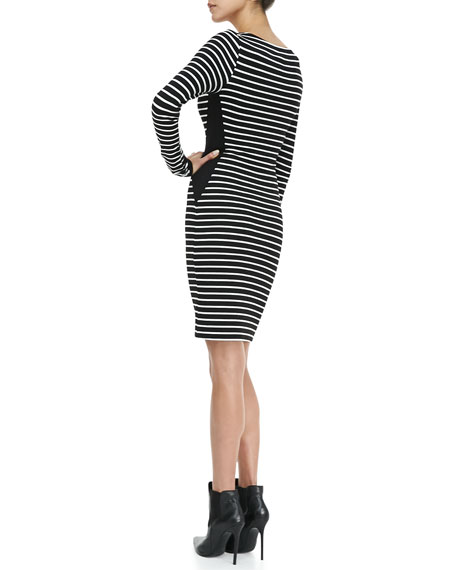 Long-Sleeve Striped Sheath Dress
