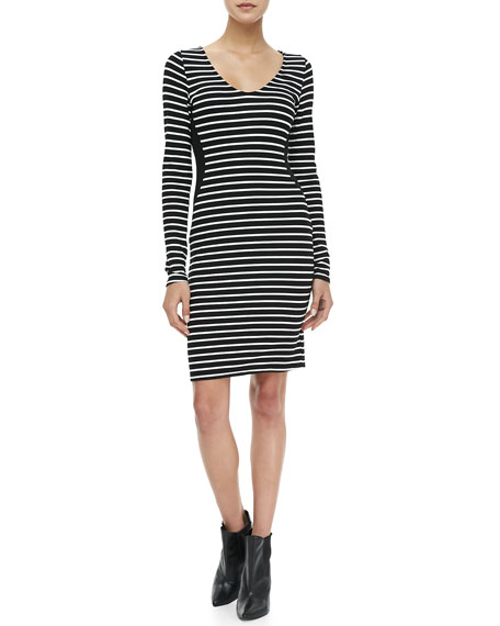 Long-Sleeve Striped Sheath Dress