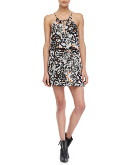Parker Fleur Animal-Print Blouson Dress
