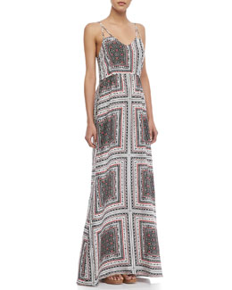 Parker Kisa Scarf-Print Maxi Dress