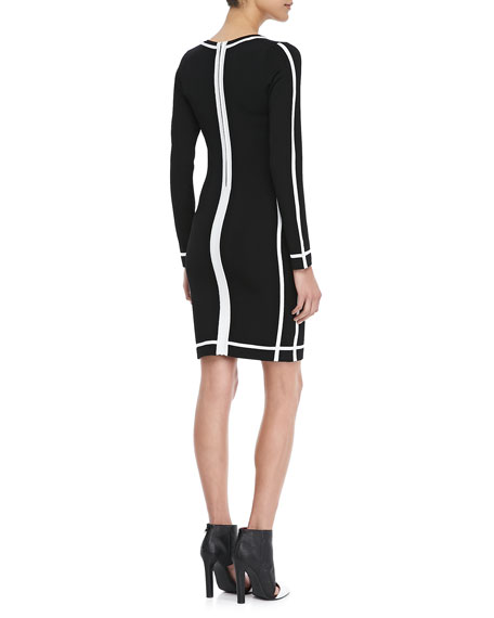 Cal Long-Sleeve Contrast-Trim Dress