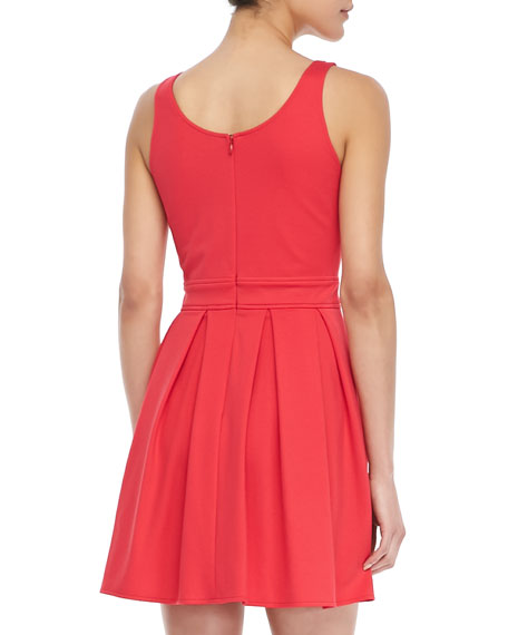 Sleeveless Pleated Ponte Dress