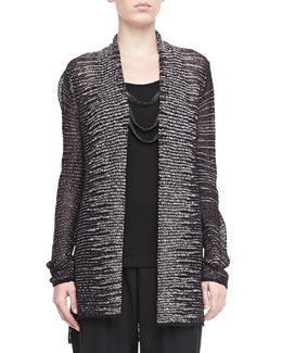 Eileen Fisher Blurred Striped Cardigan, Petite