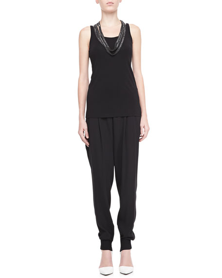 Silk Ankle Pants with Cuffs