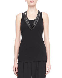 Eileen Fisher Silk Jersey Long Tank, Petite