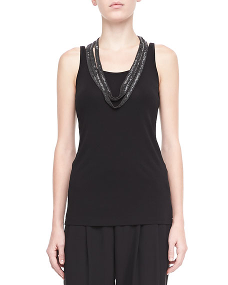 Silk Jersey Long Tank, Women's