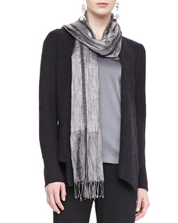 Eileen Fisher Silk Tweed Wrap with Fringe