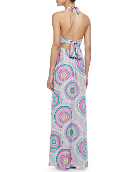 Pinwheel-Print Maxi Dress