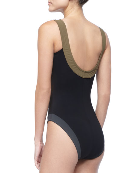 Sheer-Front One-Piece