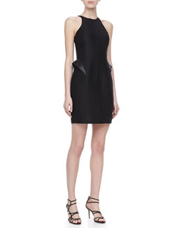 Halston Heritage Leather Peplum Racerback Dress