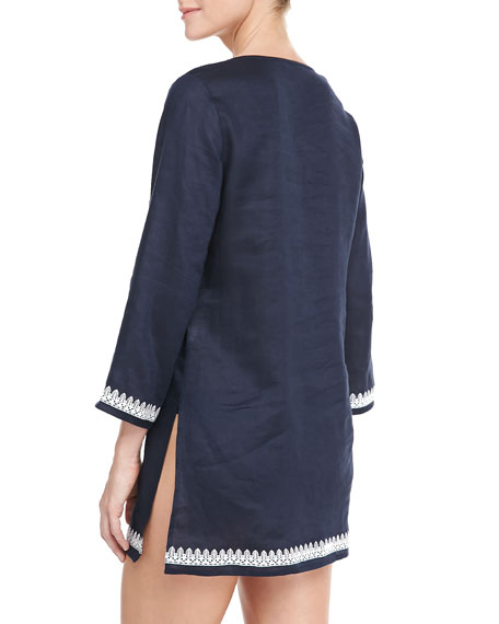 Skye Tunic Coverup with Embroidery, Navy/Ivory