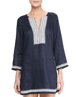 Tory Burch Skye Tunic Coverup with Embroidery, Navy/Ivory