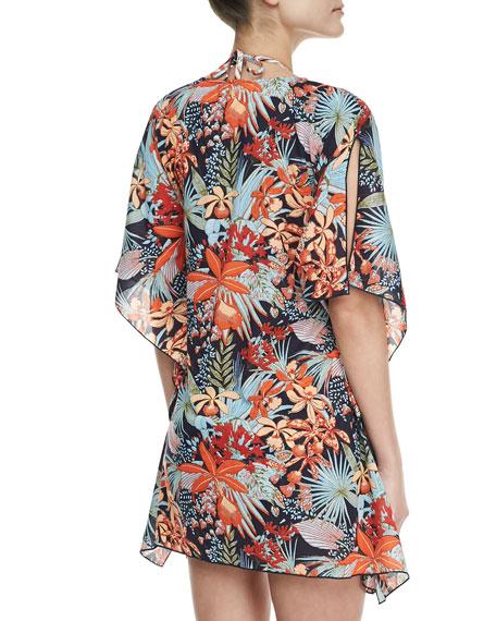 Calathea Floral Short-Sleeve Caftan Coverup