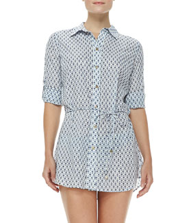 Tory Burch Boria Drawstring Tunic Coverup