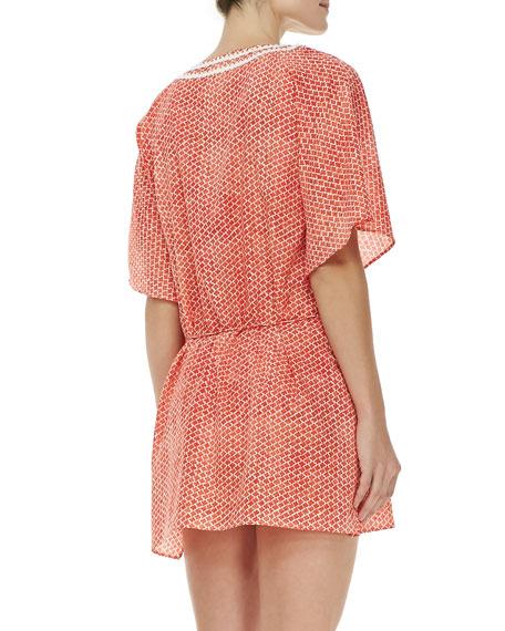 Savu Floral-Print Short-Sleeve Tunic Coverup