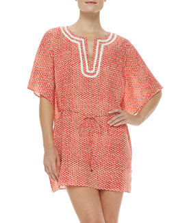 Tory Burch Savu Floral-Print Short-Sleeve Tunic Coverup