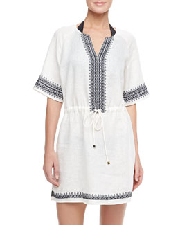 Tory Burch Skye Embroidered Linen Coverup Dress