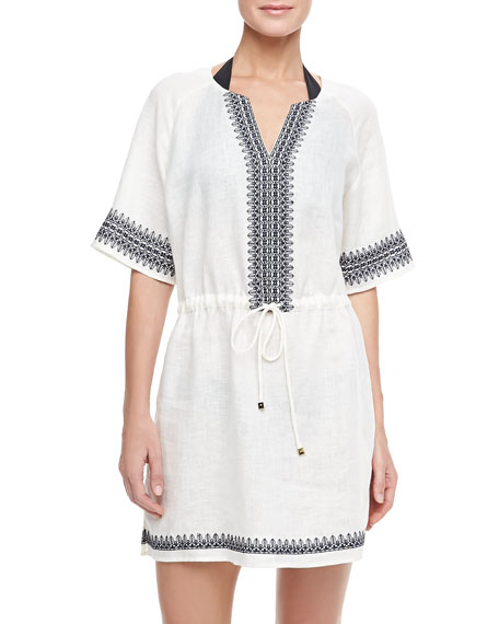 Skye Embroidered Linen Coverup Dress