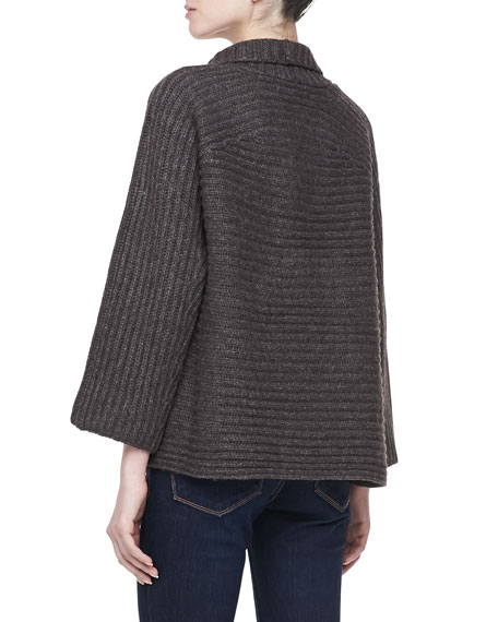 Long Sleeve Ribbed Cardigan Sweater, Gray/Brown