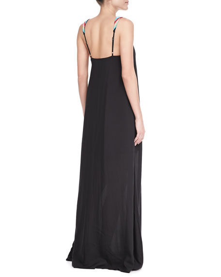 Bead-Neck Maxi Coverup Dress